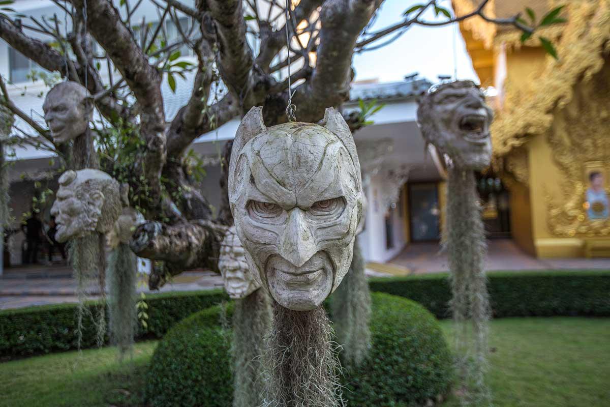 white temple masks